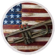 Old Trumpet On American Flag Round Beach Towel