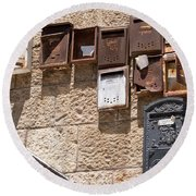 Old  Mailboxes In Jerusalem Round Beach Towel