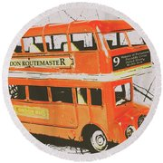 Old United Kingdom Travel Scene Round Beach Towel