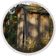 Old Valley Forge Outhouse Round Beach Towel