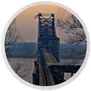 Old Vicksberg Bridge Of Mississippi Round Beach Towel by Bonnie Willis