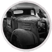 Old Vintage Chevy Pickup Truck With Ravens Round Beach Towel