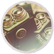 Old Vintage Faded Print Of Camera Equipment Round Beach Towel