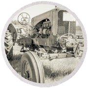 Old Vintage Farm Tractor Durham New Hampshire Round Beach Towel