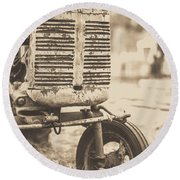Old Vintage Tractor Brown Toned Round Beach Towel by Edward Fielding