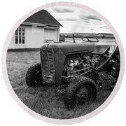 Round Beach Towel featuring the photograph Old Vintage Tractor Iceland by Edward Fielding
