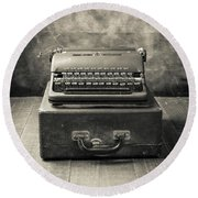 Round Beach Towel featuring the photograph Old Vintage Typewriter  by Edward Fielding