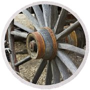 Round Beach Towel featuring the photograph Old Waagon Wheel by Phyllis Denton