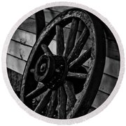 Old Wagon Wheel Round Beach Towel by Joann Copeland-Paul