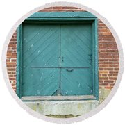 Old Warehouse Loading Door And Brick Wall Round Beach Towel