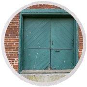 Old Warehouse Loading Door Round Beach Towel