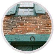 Old Warehouse Window And Lucky Door Round Beach Towel