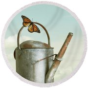 Old Watering Can With A Butterfly Round Beach Towel