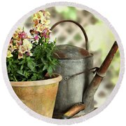 Old Watering Can With Plant Round Beach Towel