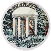 Old Well Winter Round Beach Towel