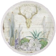 Old West Cactus Garden W Deer Skull N Succulents Over Wood Round Beach Towel by Audrey Jeanne Roberts