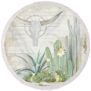 Old West Cactus Garden W Longhorn Cow Skull N Succulents Over Wood Round Beach Towel by Audrey Jeanne Roberts