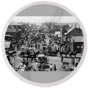 Old West Cimarron New Mexico Main St Round Beach Towel