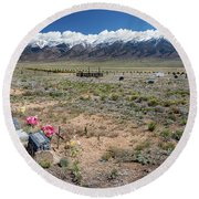 Old West Rocky Mountain Cemetery View Round Beach Towel by James BO Insogna