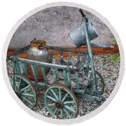 Old Wheelbarrow With Milk Churn Round Beach Towel