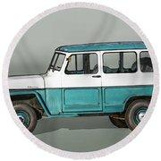 Old Willys Jeep Wagon Round Beach Towel