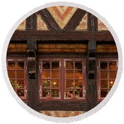 Round Beach Towel featuring the photograph Old Windows - 365-275 by Inge Riis McDonald