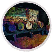 Round Beach Towel featuring the digital art Old Wine Barrels by Glenn McCarthy Art and Photography