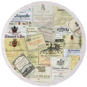 Old Wine Labels Round Beach Towel