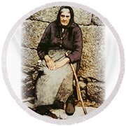 Old Woman Of Spain Round Beach Towel by Kenneth De Tore