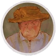 Old Woman With Yellow Hat Round Beach Towel