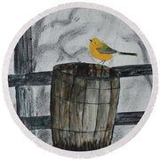 Round Beach Towel featuring the painting Old Wood Barrel by Jack G Brauer