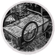 Old Wood Cart Round Beach Towel