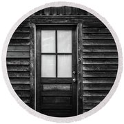 Old Wood Door And Light Black And White Round Beach Towel by Terry DeLuco