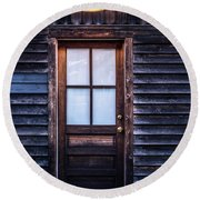 Old Wood Door And Light Round Beach Towel by Terry DeLuco