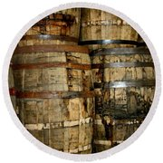 Old Wood Whiskey Barrels Round Beach Towel