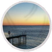Round Beach Towel featuring the photograph Old Wooden Bath Pier by Kennerth and Birgitta Kullman