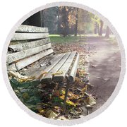 Rustic Wooden Bench During Late Autumn Season On Bright Day Round Beach Towel