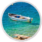 Old Wooden Fishermen Boat On Turquoise Beach Round Beach Towel