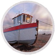 Old Wooden Fishing Boat Home By Sunset Round Beach Towel