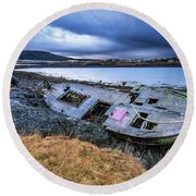 Old Wooden Ship On Beach Round Beach Towel by Joe Belanger
