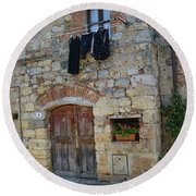 Old World Door Round Beach Towel
