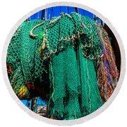 Old Worn Fishing Nets Round Beach Towel