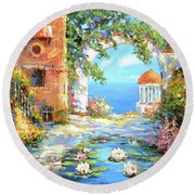 Old Yard  Round Beach Towel