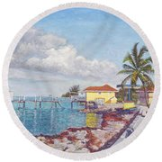 Old Yellow Gas Station By The Waterfront - Cooper's Town Round Beach Towel