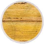 Old Yellow Paint On Wood Round Beach Towel by John Williams
