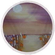 Olde Tyme Pumpkin Patch And Maze Round Beach Towel by Sharyn Winters