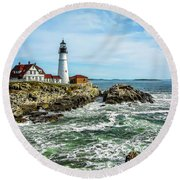 Oldest Lighthouse In Maine Round Beach Towel