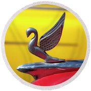 Round Beach Towel featuring the photograph Oldsmobile Packard Hood Ornament Havana Cuba by Charles Harden