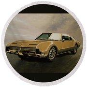 Oldsmobile Toronado 1965 Painting Round Beach Towel