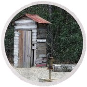 Oldtime Outhouse - Digital Art Round Beach Towel